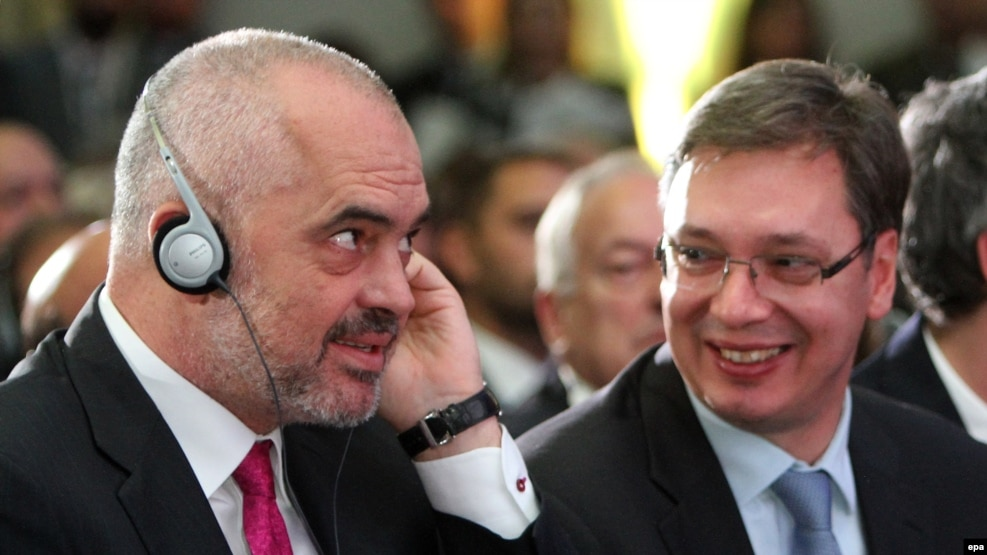 Albanian Prime Minister Edi Rama (left) and Serbian Prime Minister Aleksandar Vucic attend the Business Forum Serbia in the city of Nis.