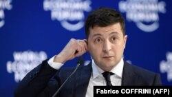 Уладзімір Зяленскі падчас выступу на Сусьветным эканамічным форуме, 22 студзеня 2020
