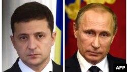 Рускиот претседател Владимир Путин и неговиот украински колега, Володимир Зеленски