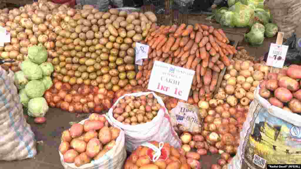 Дүшәмбедә Рамазан ае базары. Бер кг кишер бәясе - 1 сомони (7 сум)