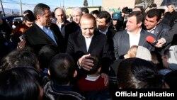 Armenia - Prime Minister Hovik Abrahamian visits Aygehovit village in Tavush province, 30Dec2014.