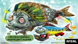 Суретші Олексий Кустовскийдің саяси карикатурасы.