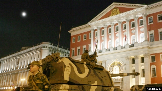 Russian tanks and armored vehicles on display in Moscow.