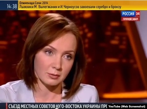 Evelina Zakamskaya, an anchor for the state-funded Rossia 24, appeared