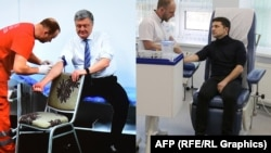 Presidential candidates Petro Poroshenko (left) and Volodymyr Zelenskiy undergo blood tests on April 5.