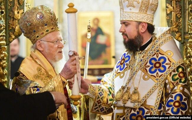 Вселенський патріарх Варфоломій і глава УПЦ Епіфаній