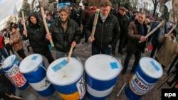 Manifestație în fața Radei supreme de la Kiev, 23 decembrie 2014.