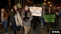 Участники акции протеста в центре Тбилиси