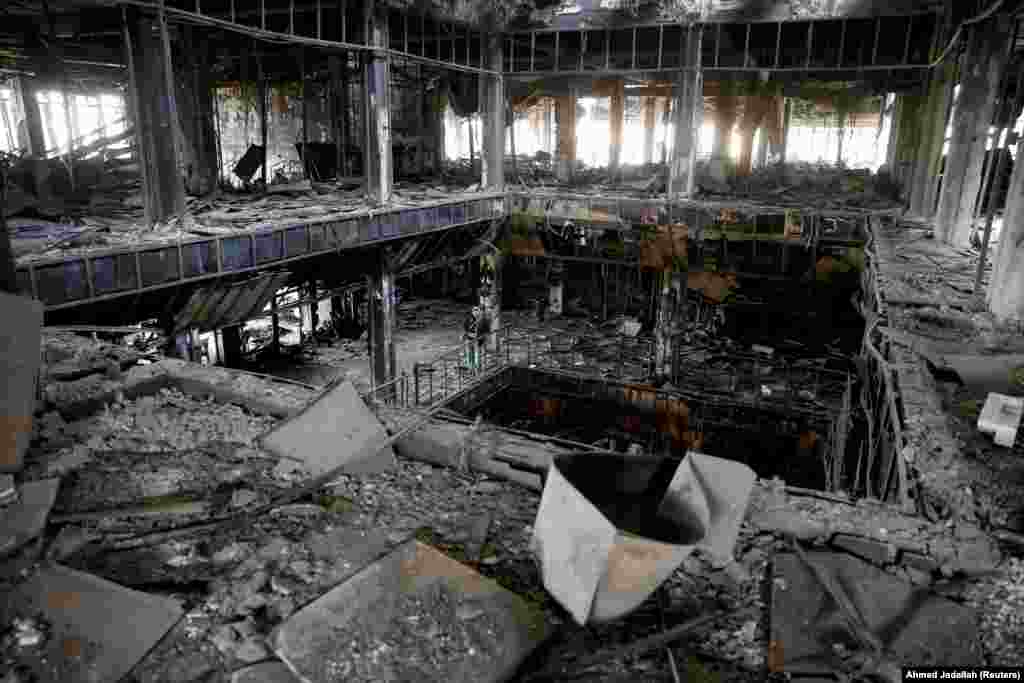 A general view of the library of the University of Mosul, Iraq, which was burned and destroyed during the battle with Islamic State militants. (Reuters/Ahmed Jadallah)