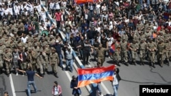 Armenia - Mass march protests and meetings against the acting PM Serz Sargsyan continue on the eleventh day,despite arrests and detention of hundreds. Dominating majority is youth from schools and colleges. Yerevan, 23Apr, 2018