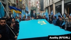 Crimean Tatars protest against the occupation of Crimea in front of the Russian Embassy in Istanbul in February.