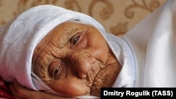 Tanzilya Bisembeyeva pictured in 2016 when she was reportedly 120 years old.