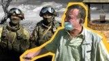 Колаж із зображенням російських військовослужбовців та кримчанина