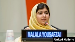 Sixteen-year-old Malala Yousafzai speaks at a special event in New York in late September. (file photo)
