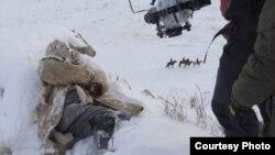 На съемках фильма Ернара Маликова о Голоде.