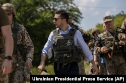 Ukrainian President Volodymyr Zelenskiy visits the war-torn Luhansk region on May 27.