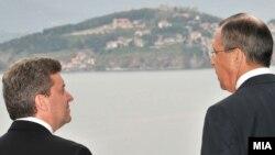 Архивска фотографија: Претседателот Ѓорге Иванов на средба со рускиот министер за надворешни работи Сергеј Лавров на средба во Охрид.