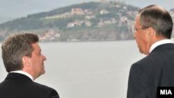 Претседателот Ѓорге Иванов и рускиот министер за надворешни работи Сергеј Лавров на средба во Охрид, 2011.
