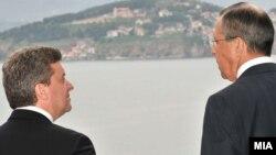 Претседателот Ѓорге Иванов на средба со рускиот министер за надворешни работи Сергеј Лавров во Охрид на 20 април 2011 година.