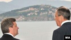 Архивска фотографија: Претседателот Ѓорге Иванов на средба со рускиот министер за надворешни работи Сергеј Лавров во Охрид.