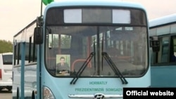 No doubt about where the buses come from in Turkmenistan.