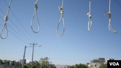 Nooses are prepared ahead of a public hanging in Iran, which is one of the world's leading executioners. (file photo)