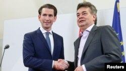 ავსტრიის მწვანეთა პარტიისა და ავსტრიის კონსერვატიული სახალხო პარტიის ლიდერები, ვერნერ კოგლერი და სებასტიან კურცი (მარცხნივ).
