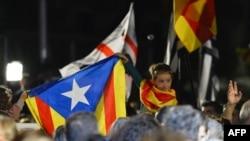 Каталонський прапор на акції у центрі Барселони