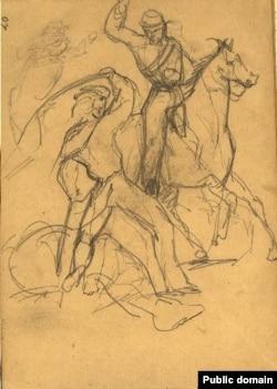 Рисунок Льва Мечникова: схватка гарибальдийца с бурбонским всадником