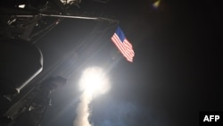 A cruise missile launched by the U.S. Navy in April 2017 in response to an alleged Syrian chemical weapons attack.
