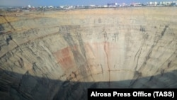 A view of the Mir open-pit mine operated by the Alrosa diamond mining company in eastern Siberia earlier this month