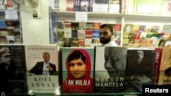 "Malala Yousafzai's book, ""I Am Malala,"" is seen on sale in Islamabad."