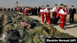 The recovered bodies of victims of the Ukrainian air disaster are seen seen near Tehran on January 8.