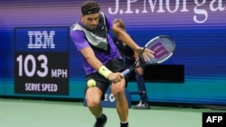 Григор Димитров по време на мача срещу Федерер в Ню Йорк