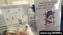 Другий Всесвітній конгрес кримських татар. Продаж футболок із зображенням Мустафи Джемілєва й Ахтема Чийгоза. 1 серпня 2015 року