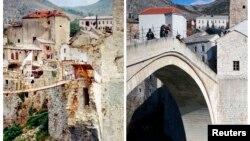 Mostar, Stari most, fotografije snimljene 1993. i 2013.