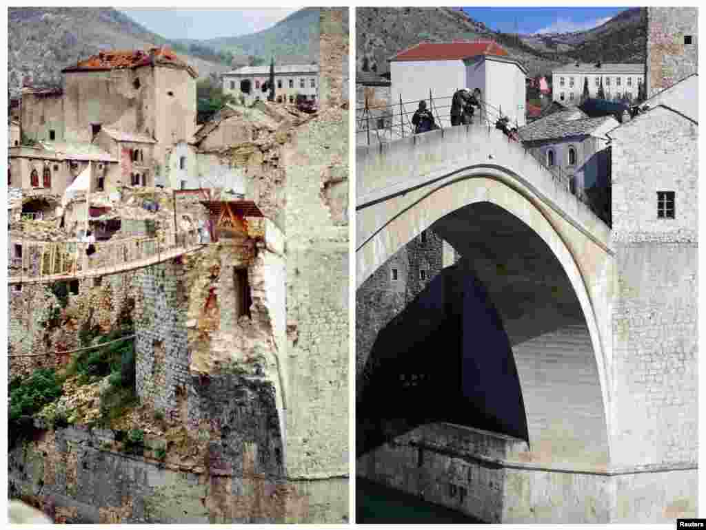 People cross a makeshift bridge in Mostar after the destruction of the 16th-century Old Bridge in 1993. On the right, the new bridge as it appeared in 2013. The reconstruction was completed in 2004 at a cost of $15.4 million, financed by a World Bank loan and international grants.