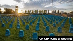 "UNICEF laid kids' backpacks on the lawn near its building in New York in neat rows reminiscent of a graveyard as a public reminder of how many children die in ""violent conflicts"" each year."