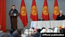 Садыр Жапаров на встрече с жителями Джалал-Абадской области. 4 ноября 2020 года.