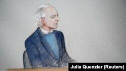 Джулиан Ассанж (зарисовка из зала суда)