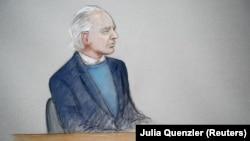 Джулиан Ассанж, зарисовка из зала суда, Лондон, 21 октября 2019 г.