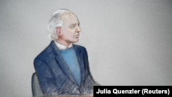 A courtroom sketch of WikiLeaks founder Julian Assange during a hearing in London on October 21.