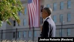Барак Обама у здания Пентагона, Вашингтон, 11 сентября 2016