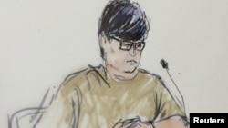 Энрике Маркес в зале суда в Риверсайде в Калифорнии.