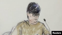 A courtroom sketch of Enrique Marquez who has pleaded guilty to conspiring with Syed Rizwan Farook to attack a community college.