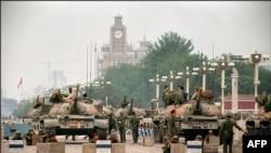 Танки Народно-освободительной армии Китая на подступах к площади Тяньаньмэнь, июнь 1989 года