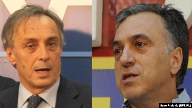 Presidential candidates Miodrag Lekic (left) and Filip Vujanovic each claimed victory in the presidential election.