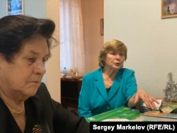 "Lenina Makeyeva (left) and Klavdia Nyuppiyeva both spent time in the Petrozavodsk labor camp. ""My older sister and I had one pair of shoes between us,"" Nyuppiyeva says."