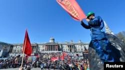 Un protest împotriva şomajului în centrul Londrei