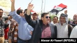 جانب من المظاهرة التي شهدتها النجف الجمعة 13 حزيران